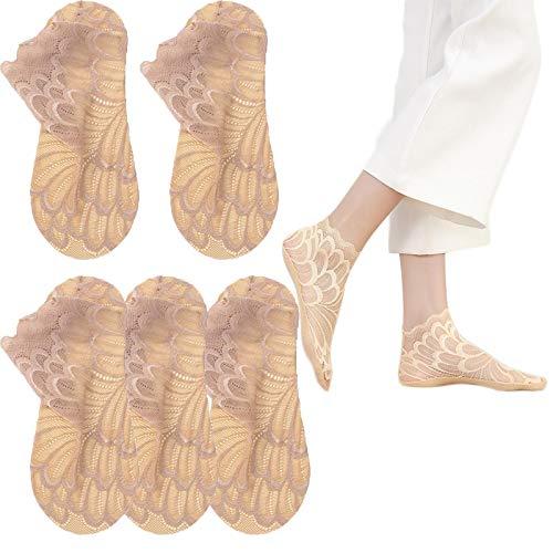 FTIK Calcetines de Encaje Mujer,5 Pares Calcetines Transparentes, Calcetines de Mujer, Calcetines Red, Mini Medias Brillantes, Mini Medias Mujer Marrón - 1