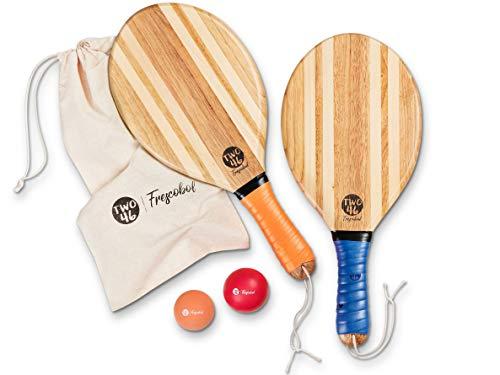 two46 Beachball Set - Frescobol l Der Trendsport aus Brasilien - Handgefertigte Schläger aus Holz (inkl.Tasche, Anfänger- & Speedball)