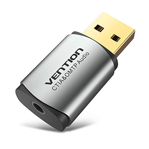 Tarjeta de sonido USB externa de 3,5 mm, adaptador de tarjeta de sonido USB con micrófono, convertidor de USB a 3,5 mm para PS4 ordenador portátil y tarjeta de sonido