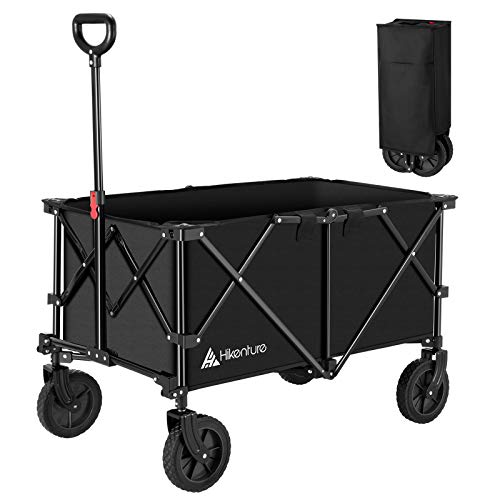 Hikenture Folding Wagon Cart, Portable Large Capacity Beach Wagon, Heavy Duty Utility Collapsible Wagon with All-Terrain Wheels and Waterproof Cover, Outdoor Garden Cart for Sports, Shopping, Camping