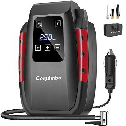 Coquimbo Compressore Portatile per Auto, Mini Pompa Elettrica con Schermo LCD Digitale e Torcia a LED, 12V Gonfiatore Pneumatici Auto con 3 Adattatori Ugelli (Inclusa una Borsa di Stoccaggio)