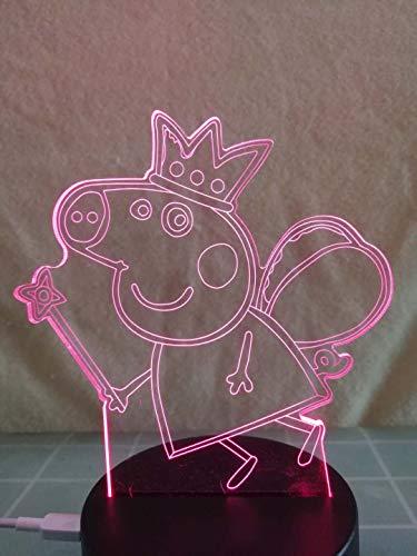 3D Acryl Nachtlicht Schlafzimmer Lampe für Kinderzimmer USB Aufladen LED Lampe Home Decor Schreibtischlampe Peppa Wutz