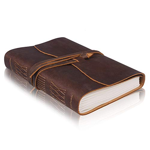 Leather Journal Notebook 320 PAGES Unlined 8x6, Jack&Chris Leather Bound Diary