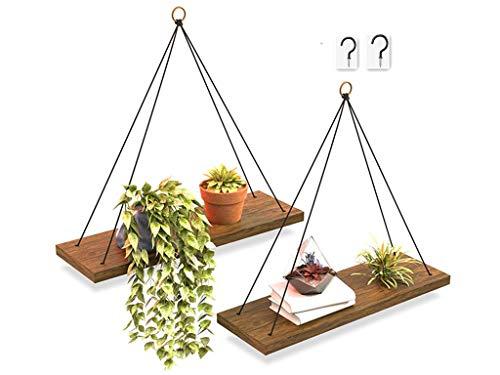 Alytimes Wandregal 2er-Set, schwimmende Holzregale, hängendes Holzregal 1-stufige rustikale Holzschaukelregale, Organisationsregal, schwimmende Dekorationsregale