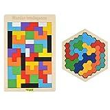 Hotgod Rompecabezas de madera de tetris hexagonal para niños pequeños Tangram Jigsaw Puzzle, Montessori regalo educativo para niños y adultos
