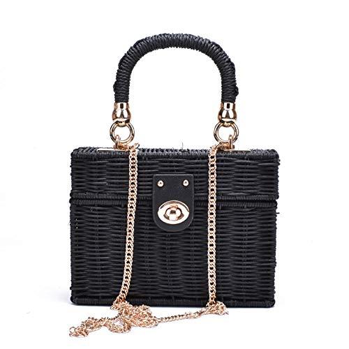 Bolso de hombro de paja negra de ratán, bolso de mensajero tejido a mano para mujer, bolso de paja cuadrado para playa de verano, bolso de paja para dama 14X19X7CM