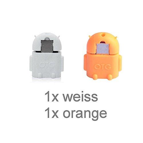 KRS A1 Weiss /Orange - USB OTG Robot - otg Adapter Micro-USB-Stecker Typ B / USB-Kupplung Buchse Typ A OTG Android Roboter Robot -USB Adapter für Huawei Ascend Mate Mate 2 P6 P6S Samsung Galaxy S2 I9100 I9105P S3 I9300 I9305 Note N7000 Sony Xperia Z1 L39h Z1f Honami Mini Compact ZL L35i Tablet Z