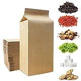 Tixiyu 50 bolsas de papel kraft con base de aluminio de aluminio para té, café, galletas, dulces.