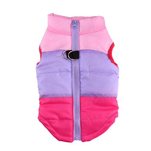 STOBOK Chaleco de invierno para mascotas para perros y mascotas, impermeable, abrigo, ropa para mascotas, ropa para perros, suministros para mascotas, tamaño XL, color rosa morado y rosa