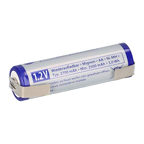 Akku AA Mignon 1,2V 2700mAh NiMH Batterien mit Lötfahne U wiederaufladbar + geringe Selbstentladung