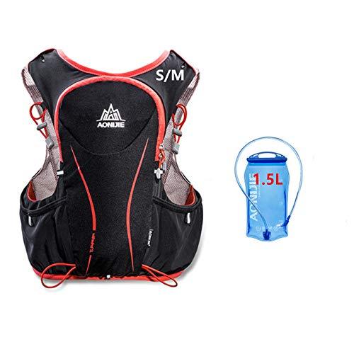 Sacs de course de 5 l en nylon imperméable, sac à dos pour marathon, cyclisme, course à pied, Sac de sport avec poche + Sac d'eau de 1,5 l, par Aonijie, S/M