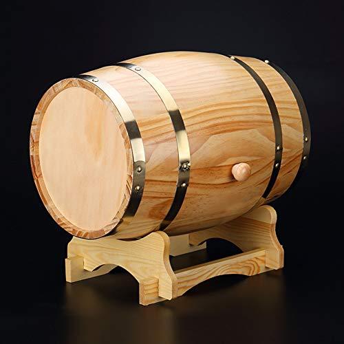 NZKW Fût De Chêne, 1.5/3/5/10L Vintage Wood Bois De Chêne, Fûts Décoratifs sur La Table, Tonneau De Vin pour Le Rangement Ou du Vieillissement du Vin Et Spiritueux,5L