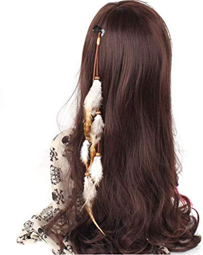Autloops Handmade Boho Hippie Hair Extensions with Feather Clip Comb Hairpin Headdress DIY Accessories for Women Lady