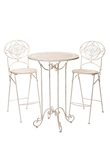 Salon de Jardin - 1 Table Haute et 2 chaises de Bar - Style Antique - Blanc