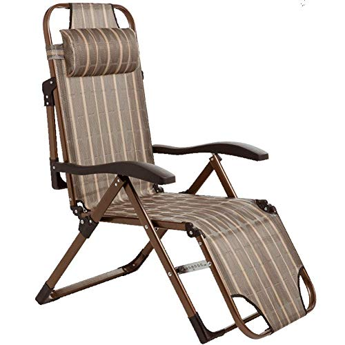 Khaki Metal Sun Lounger, Outdoor Garden Folding Sunbed, Deck Chair with Breathable Waterproof Synthetic Teslin Fabric Sit and Recline 150Kg Max