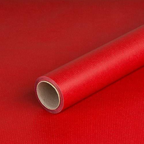 Geschenkpapier Rot und Bordeaux doppelseitig, Kraftpapier, gerippt, 60 g/m², Geschenkpapier, Weihnachtspapier - 1 Rolle 0,8 x 10 m