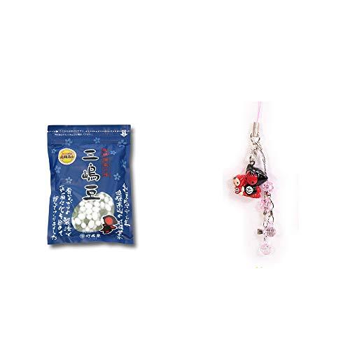 [2点セット] 飛騨 打保屋 駄菓子 三嶋豆(150g)・さるぼぼペアビーズストラップ 【ピンク】/縁結び・魔除け//