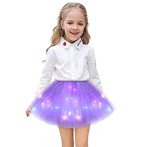 SIZHINAI Girl Tutu Skirts, Magic Light Princess LED Dancing Skirt Tulle Ballet (Light Purple)