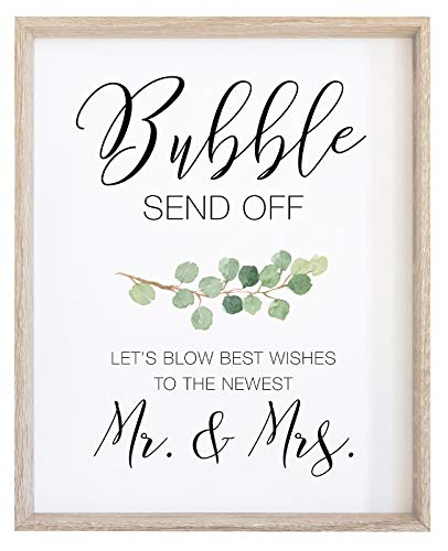 2 City Geese Bubble Send Off Sign for Wedding   (1) 8x10 Watercolor Eucalyptus Greenery on Thick Cardstock Paper   Bubble Exit Signs for Reception - NOT Framed