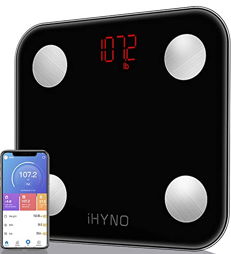 iHYNO Bathroom Scale,Body Fat Scale Smart BMI Scale, Body Weight Scale with Smartphone App Digital Bathroom Wireless Weight Scale with Bluetooth,396 lbs-Black