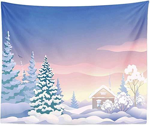 Tapiz de escena de invierno King Size Cabin in The Woods en colores so?adores Estampado Colgante de pared Colcha Funda de cama Decoraci¨n de la pared Ceil Blue Pale Rose Dark Cadet Blue Champagne