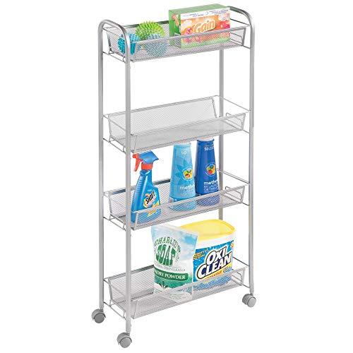 mDesign Estantería metálica portátil para el lavadero – Compacto Organizador con Ruedas para detergentes, quitamanchas y más – Práctico Carro Organizador de Metal con 4 estantes Estrechos – Plateado