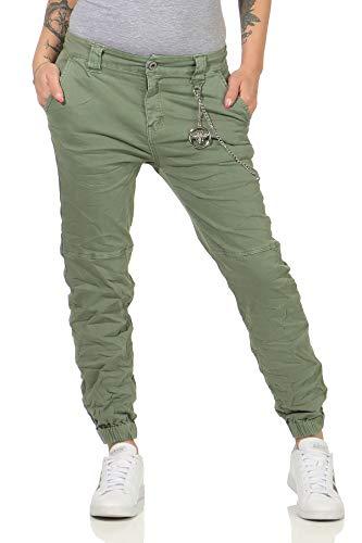 Jewelly dames jeans in Cargo Style Boyfriends heupjeeans jeans broek Baggy in actuele kleuren met ketting 55