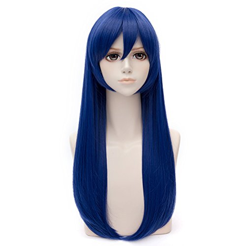 COSPLAZA Deep Blue Long Straight Girl's Cosplay Wig Anime Full Hair
