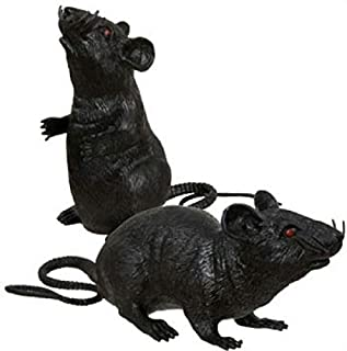 Greenbrier International 2 Black Plastic Squeezable Squeaking Rats Spooky Scary Creepy Halloween Decor