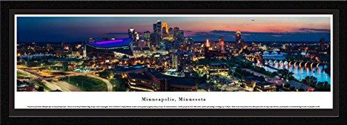 Blakeway Worldwide Panoramas Minneapolis, Minnesota-Twilight Blakeway Panoramas Skyline Posters with Select Frame, Single Mat