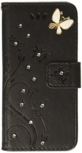 Auroralove iPhone X Luxury Handmade Bling Rhinestone Soft Slim Flip Stand Wallet Case for iPhone X 5.8 Flower Butterfly PU Leather Case for Girls Women-Black