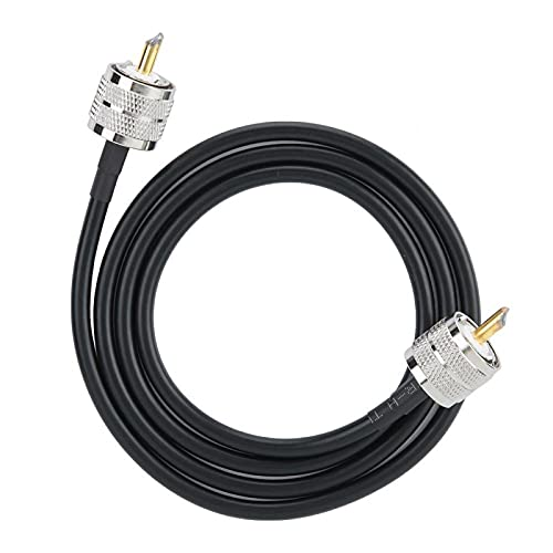 2PCS Rg58 Coaxial UHF (Pl259) Antena Macho a Macho Cable Adaptador de Cobre Línea de conexión Negro