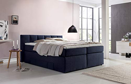 Möbelfreude® Andybur boxspringbed 160x200cm Midnight Blue H2/H3 | 7-zone pocketvering matras & visco-topper | 90 cm hoog hoofdeinde ideaal voor dakschragen + bedkast voor opbergruimte
