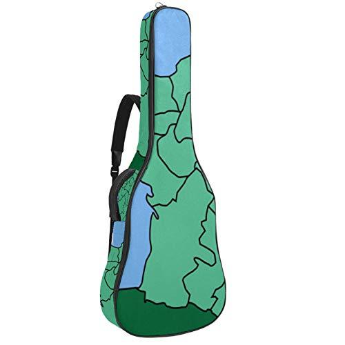 Bolsa para guitarra impermeable con cremallera, suave para guitarra, bajo, acústico y clásica, diseño de mapa de Lyon, color verde
