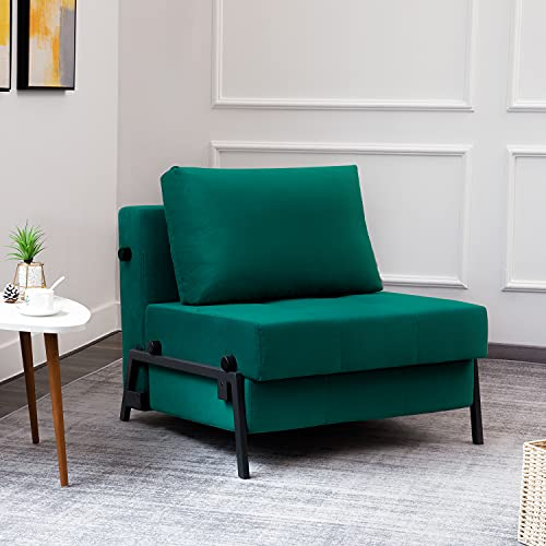 Vonanda Sofa Bed, Velvet Convertible Chair Bed, Single Guest Chair Bed with Hidden Legs and Sturdy Frame for Small Living Space, Velvet Hunter Green