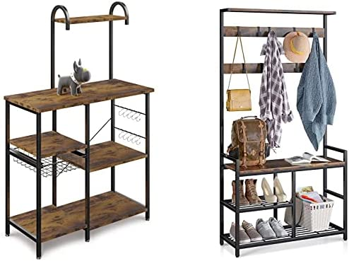 high quality ODK Home Life, Kitchen Bakers Rack Microwave Oven Stand Coffee Bar sale Table with Simple Industrial Style Storage Shelf Hall Tree Coat outlet sale Rack with Shoe Bench online sale