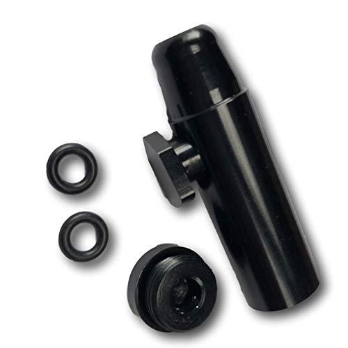 EKNA Schnupftabakspender & Dosierer für Schnupftabak schwarz | Snuff Dispenser Snorter Rocket | Aluminium …
