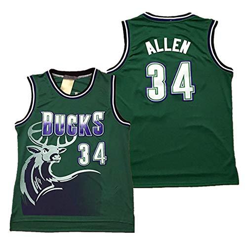 Männer Basketball Uniform Weste, Retro No. 34 Allen Swingman Jersey, Stickerei Polyester Atmungsaktive Basketballplatte, 2XL