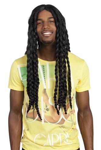TH-MP Rasta Dreadlock Perücke Jamaika Coole Reggea Herrenperücke schwarz