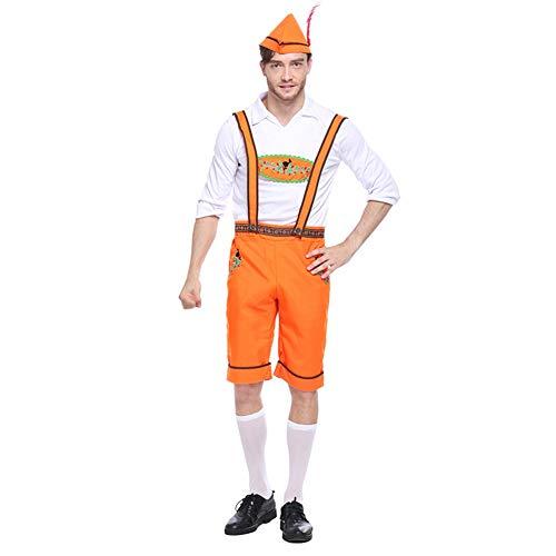Baywell Herren Damen Oktoberfest Kostüm Bavarian 3 Teilig Hut+Trachtenhemd+Hosenträger Anzug Bier Cosplay Karneval, Trachten Herren Damen Set Outfit (XL, Herren)
