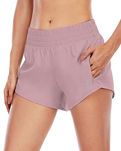 """YOGERSSY Womens Athletic Shorts with Liner 3"""" Inseam 2 in 1 Workout Running Fitness Hiking Yoga Exercise Shorts with Zipper Pockets"""