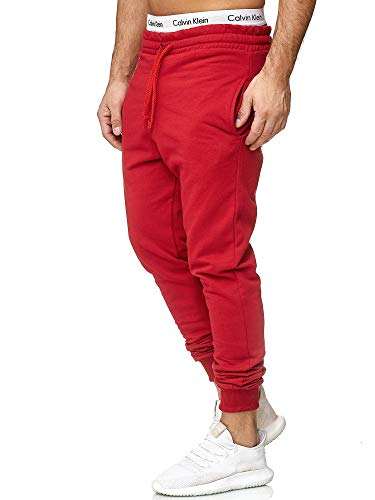 OneRedox Herren | Jogginghose | Trainingshose | Sport Fitness | Gym | Training | Slim Fit | Sweatpants Streifen | Jogging-Hose | Stripe Pants | Modell 5000C Rot M