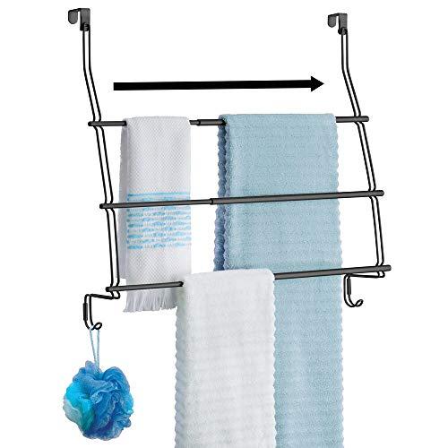 mDesign Expandable Metal Wire Over Door Towel Storage Shelf Organizer Rack Holder - 3 Tier, 2 Large Hooks - Organizes Bathroom Towels, Washcloths, Hand Towels, Loofahs, Sponges - Matte Black