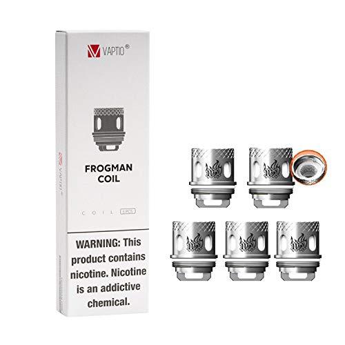 Bobina Vaptio Frogman Compatible con tanque Frogman (juego de 5) Bobina de resistencia de 0.4 Ohm Sin líquido electrónico Sin nicotina (Frogman W2 Coil)