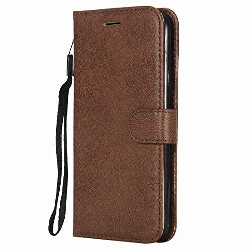 Yiizy handyhülle für Nokia Lumia 635 / RM-974 Ledertasche, Fashion Stil Lederhülle Brieftasche Schutzhülle für Nokia Lumia 635 hülle Silikon Cover mit Magnetverschluss Kartenfächer (Braun)