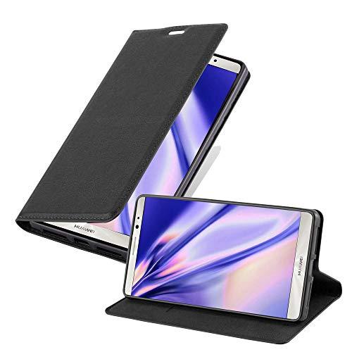 Cadorabo Hülle für Huawei Mate 8 - Hülle in Nacht SCHWARZ – Handyhülle mit Magnetverschluss, Standfunktion & Kartenfach - Case Cover Schutzhülle Etui Tasche Book Klapp Style
