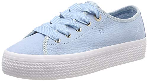 Tommy Hilfiger Damen Nubuck Flatform Sneaker, Blau (Omphalodes 450), 40 EU