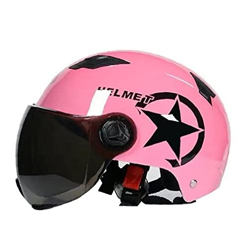 Medio Casco de la Motocicleta Abierta de la Cara Crash Jet Casco con Visera Scooter Electric Pink
