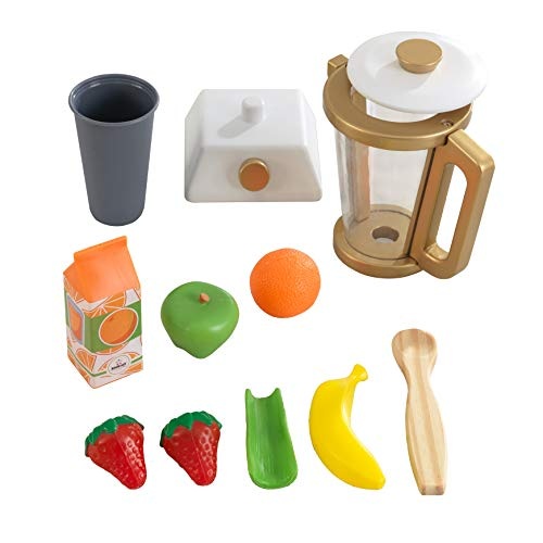 KidKraft 53537 Kids Play Kitchen Wooden Smoothie Set in Modern Metallic Colours, Play Kitchen Accessory