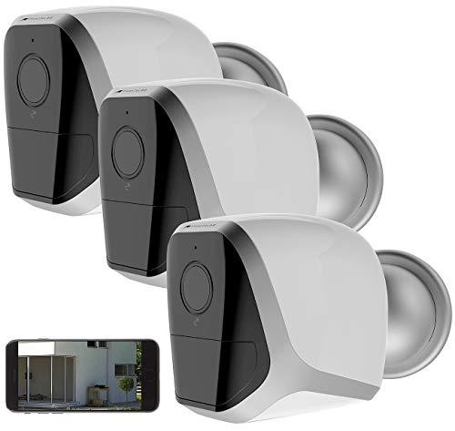 VisorTech Überwachungskamera Akku: 3 Full-HD-IP-Überwachungskameras, App, 12 Monate Akku-Stand-by, IP65 (IP HD Überwachungskamera mit App)